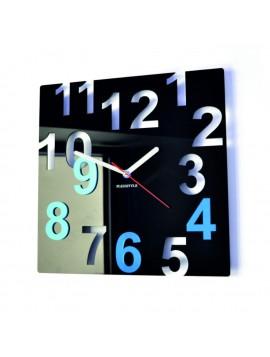 Moderní nástěnné hodiny-Barevné čísla, Barva: černá, světlá modrá