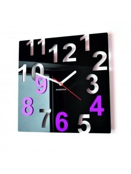 Nástěnné hodiny-Barevné čísla, Barva: černá, růžová