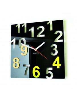 Moderní nástěnné hodiny-Barevné čísla, Barva: černá, světlá žlutá