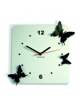 Moderní nástěnné hodiny z plastu-Motýli, Barva: bílá, černá, Rozměr: 30x30 cm