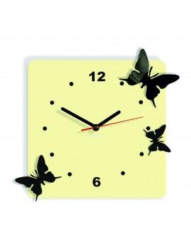 Moderní nástěnné hodiny z plastu-Motýli, Barva: bílá káva, černá, Rozměr: 30x30 cm