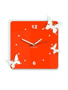 Moderní nástěnné hodiny z plastu-Motýli, Barva: oranžová, bílá, Rozměr: 30x30 cm