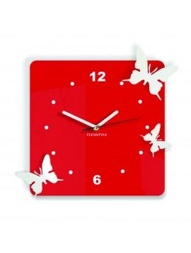 Moderní nástěnné hodiny z plastu-Motýli, Barva: červená, bílá, Rozměr: 30x30 cm