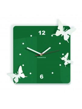 Moderní nástěnné hodiny z plastu-Motýli, Barva: tmavá zelená, bílá, Rozměr: 30x30 cm