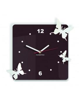 Moderní nástěnné hodiny z plastu-Motýli, Barva: tmavá hnědá, bílá, Rozměr: 30x30 cm
