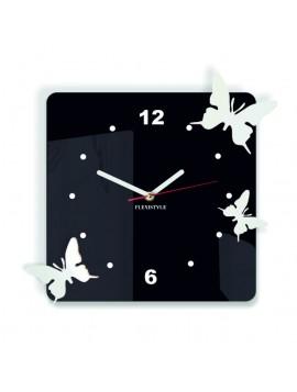 Moderní nástěnné hodiny pro dite Motýli, Barva: černá, bílá, Rozměr: 30x30 cm POHERKEF