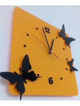 Hodiny na zeď plexisklo. Barva žlutá, černé motýli. Rozměr 30 x 30 cm MLYNAR