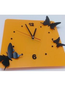 Moderní nástěnné hodiny Motýli, Barva: žlutá, černá, Rozměr: 30x30 cm HORIET