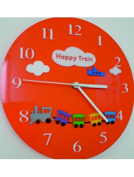 Nástěnné hodiny dětský svět. Barva oranžová. Rozměr 30 x30 cm