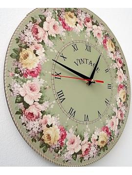 Vintage dřevěné nástěnné hodiny, kruh: Fi: 30 cm BONDA