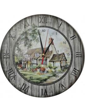 Nástěnné hodiny z dřeva - Chaloupka, kruh Fi: 30cm