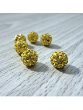 Šamballa korálka - žlutá FI 10 mm