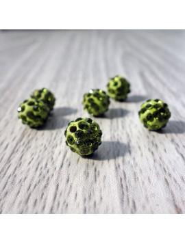 Šamballa korálka - olivově zelená FI 10 mm
