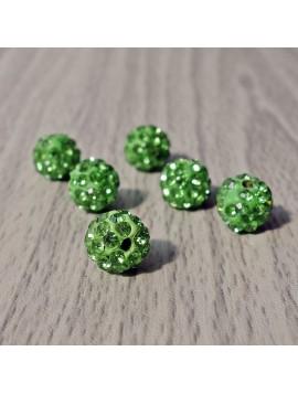 Šamballa korálka - zelená FI 10 mm