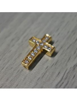 Kovový křížek se zirkony - zlatý