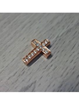 Kovový křížek se zirkony - měděný