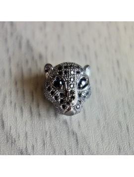 Kovový leopard se zirkony - tmavý