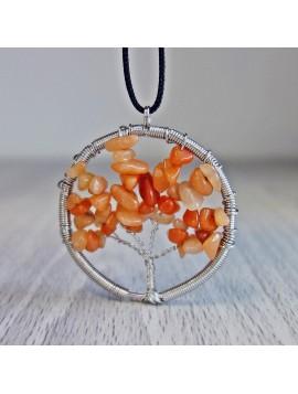 Přívěsek z polodrahokamu - strom - achát oranžový