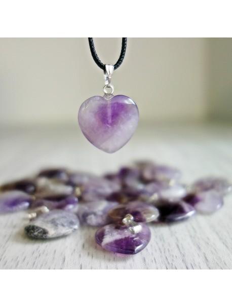 Přívěsek z minerálu ve tvaru srdce - ametyst chevron - 2 cm