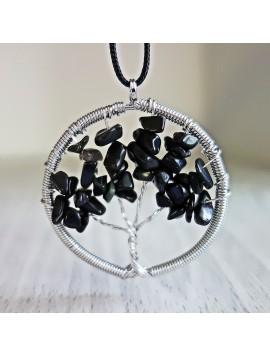 Přívěsek z polodrahokamu - strom - černý onyx