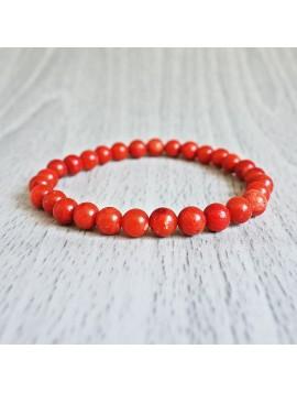 Náramek na ruku - korál červený - Ø FI 6 mm