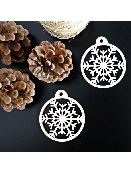 Dřevěná dekorace na vánoční stromek - Sněhová vločka, rozměr: 79x90 mm
