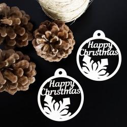 Ozdoba na Vánoce vyrobená ze dřeva - Veselé Vánoce, rozměr: 79x90 mm