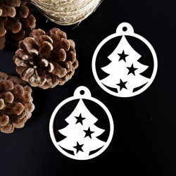 Vintage vánoční ozdoba ze dřeva - Vánoční stromek, rozměr: 79x90 mm STROM