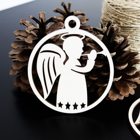Vánoční dřevěná ozdoba - Malý anděl, rozměr: 79x90mm