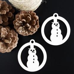 Sněhulák dřevěná vánoční ozdoba rozměr: 79x90 mm