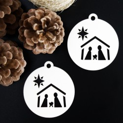 Vintage ozdoba na vánoční stromek - Betlém, rozměr: 79x90 mm BETLEM