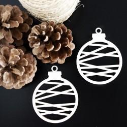 Dekorace vyrobená ze dřeva-Vánoční koule, rozměr: 79x90 mm