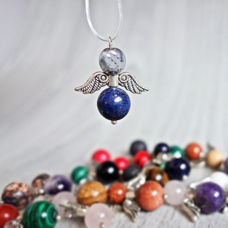 Přívěsek andílek z minerálů - světlý hematit a lapis lazuli