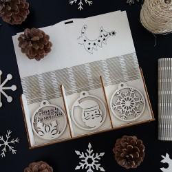 Sada krásných vánočních ozdob ze dřeva, 1 sada-18 kusů