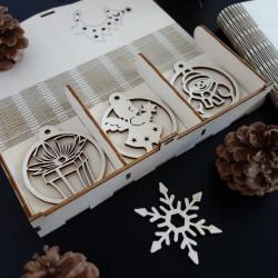 Dřevěné vánoční ozdoby, 1sada-18 kusů