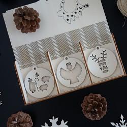 Styles Dřevěné vánoční dekorace 1 sada-18 kusů Vánoce beránek bílé topol PR0100