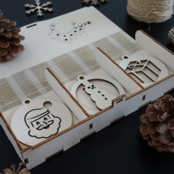 Dřevěné ozdoby na vánoční stromeček, 1 sada-18 kusů