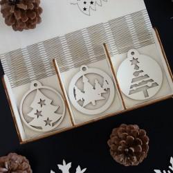 Ozdoby na vánoční stromeček ze dřeva, 1 sada-18 kusů