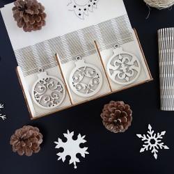 Dřevěné vánoční ozdoby, 1 sada-18 kusů ANJELIK