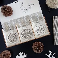 Sada dřevěných dekorací na Vánoce, 1 sada-18 kusů KVET