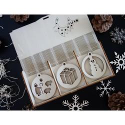 Dřevěné vánoční ozdoby, 1 sada-18 kusů DAREK