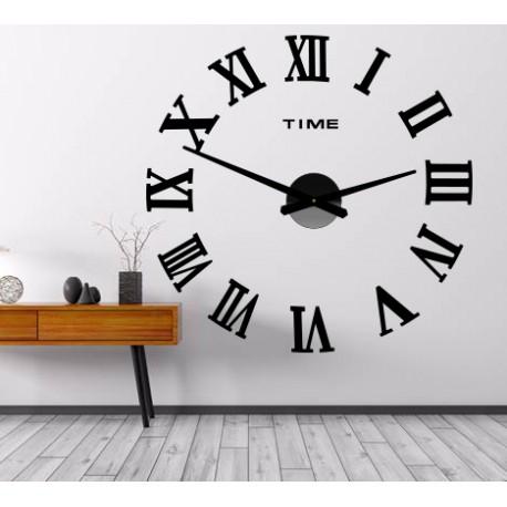 Nástěnné hodiny nalepovací MAXI PLEXI - římská čísla 2D