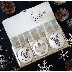 Kolekce vánočních dřevěných ozdob 1 sada 18 kusů JOZUE
