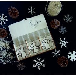 Dřevěné ozdoby na vánoční stromeček, sada obsahuje 18 kusů ANJEL