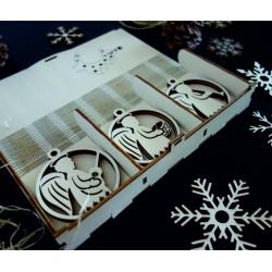 Vintage dřevěné vánoční ozdoby, sada obsahuje 18 kusů