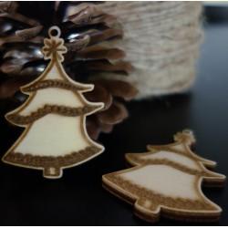 Vánoční ozdoby gravírované vánoční stromeček, rozměr: 58x40 mm