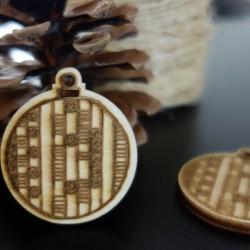 Dekorace na Vánoce vyrobena ze dřeva, rozměr: 48x42 mm