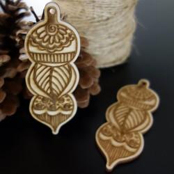 Vánoční ozdoby ze dřeva, gravírované, rozměr: 100x37 mm