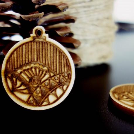 Dekorace na Vánoce vyrobené ze dřeva, rozměr: 47x40 mm