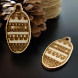 Dřevěná ozdoba na vánoční stromeček, rozměr: 68x33 mm
